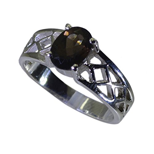 Jewelryonclick Prong-setting Real Smoky Quartz Ring 925 Silver Oval Gemstone Available in Size 4-12 (Quartz Oval Faceted Smoky Ring)
