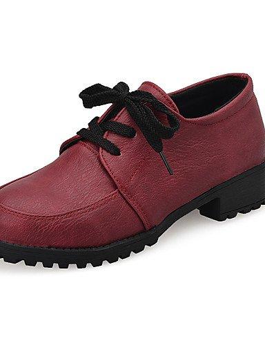 Rouge-us8   eu39   uk6   cn39 NJX  Chaussures Femme-Décontracté-Noir   Rouge-Talon Bas-Bout Fermé-Richelieu-Polyuréthane