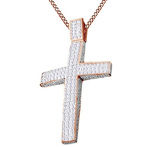 Round Cut White Cubic Zirconia Men's Hip Hop Jewelry Cross Pendant In 14k Rose Gold Over Sterling Silver by AFFY