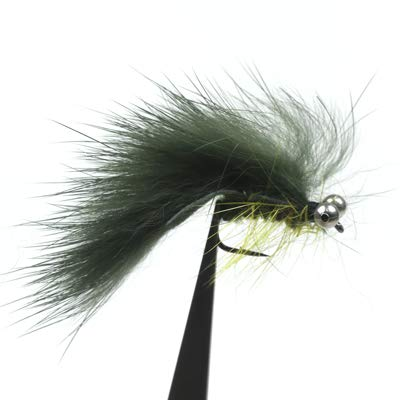 (Jammas 4PCS Dumb Bell Eye Zonker Streamers Trout Fly Fishing Lures #6 - (Color: Olive 4pcs))