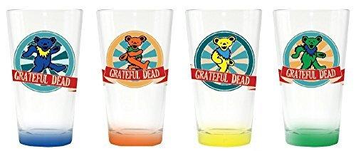 Grateful Dead Set of 4 Color Base Bears Drinking Pint Glasses (Greatful Dead Bear)