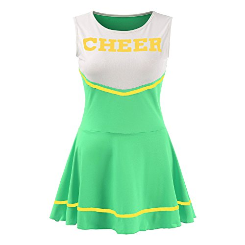 Women's Musical Uniform Fancy Dress Cheerleader Costume Outfit (Green) ()