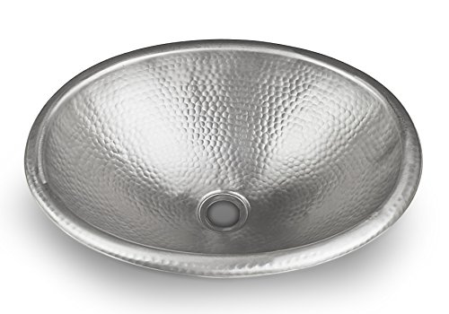 Monarch Abode Hand Hammered Satin Nickel Oval Bathroom Drop-in Sink