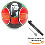 Syecomb Soccer Ball Cristiano Ronaldo Portugal With Air Pump Red Green Official Size 5 With 6 Panels