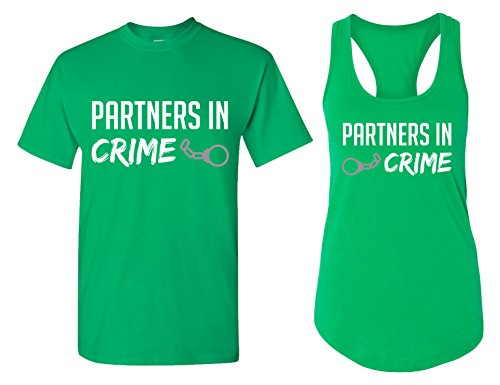 Partners In Crime Matching Couple T Shirts   His And Hers Racerback Tank Tops