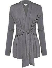 Womens Casual Long Sleeve Open Front Drape Wrap Travel Cardigan Sweater Gray L