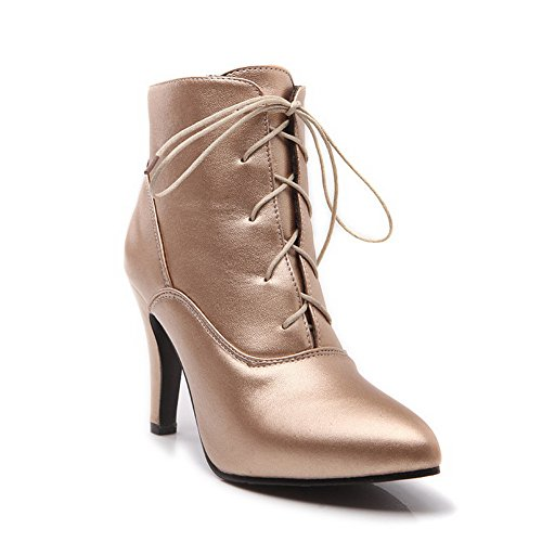AdeeSu Lace Girls Mule Boots Soft Material Wheeled Shoes Heel Up Gold rxaSHrq