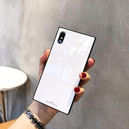 Minky iPhoneXR スマホケース アイフォンケース 落下防止 耐衝撃 完全保護 背面保護 最新型 四角型 強化ガラス 人気 鏡面 iphoneケース (ホワイト, iPhoneXR)