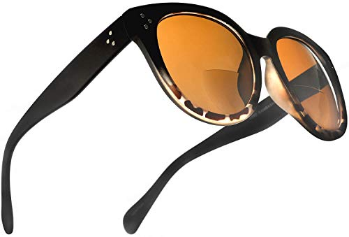 Bifocal Sunglasses for Women Oversized Reading Round Sun Readers Matte Black Brown 2.75 Power for ()