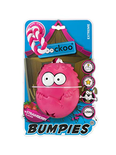 COOCKOO BUMPIES   Stimulating Interactive Treat Dispenser Chew Toy for Dogs (Extreme, Strawberry)