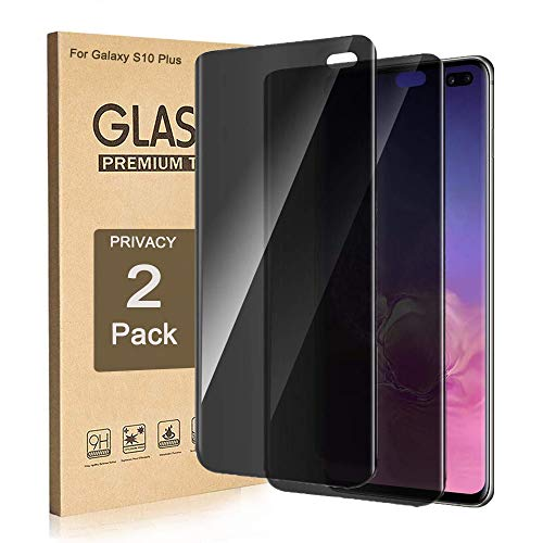 (Galaxy S10 Plus Privacy Screen Protector, ZAOX [Anti-Spy] [Case Friendly] [Full Coverage] [3D Touch Compatible] Premium Tempered Glass Screen Protector for Samsung Galaxy S10 Plus 2019 (2 Pack))