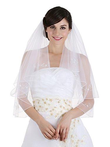 Motifs Pencil Edge Bridal Wedding Veil - Ivory Color Elbow Length 30