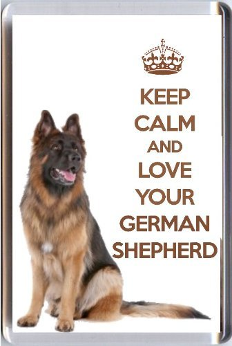 A fridge magnet with a picture of a German Shepherd Dog with the wording KEEP CALM AND LOVE YOUR GERMAN SHEPHERD from our unique KEEP CALM and CARRY ON gift range. An original Birthday or Christmas stocking filler gift idea for a dog lover! ()