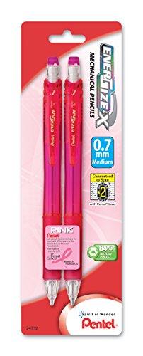 - Pentel PL107BP2P-BC EnerGize-X Mechanical Pencil, 0.7mm, 2 Pack, Pink Barrels