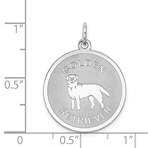 Sterling Silver Golden Retriever Engraveable Disc Charm (1IN long x 0.7IN wide)