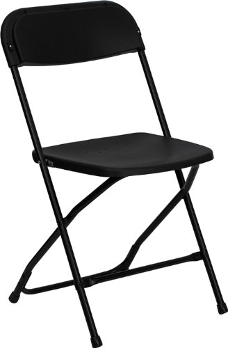 HERCULES Series 800 lb. Capacity Premium Black Plastic Folding Chair [LE-L-3-BK-GG]