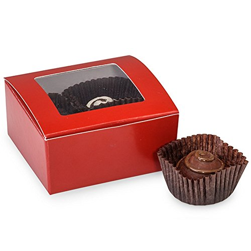 Cherry Red 4 Piece Truffle Boxes With Window - 2-5/8 x 2-3/4 x 1-1/4in. - 25 Pack ()