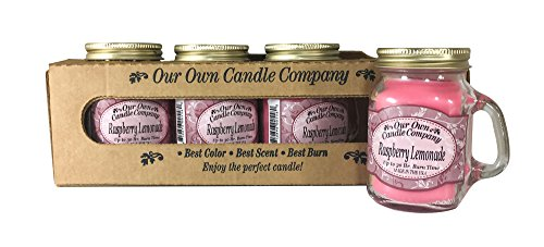 - Our Own Candle Company Raspberry Lemonade Scented Mini Mason Jar Candle, 3.5 Ounce (4 Pack)