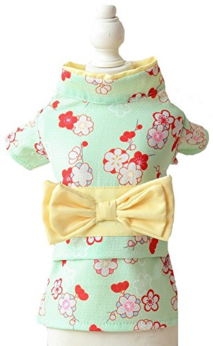 MaruPet Brocade Japanese Kimono for Girl Floral Pet Halloween Costume Bowknot Dog Dress for Small, Extra Small Dog Wiener Dog Teddy, Pug, Chihuahua, Shih Tzu, Yorkshire Terriers, Papillon Green M