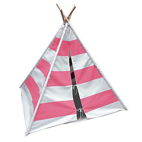 Modern Home Children's Canvas Tepee Set with Travel Case - Pink Stripes by Modernhome