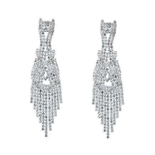 (CHRAN Silver Teardrop Crystal Long Tassels Dangle Earrings Sparkling Rhinestone Ladies Gifts)