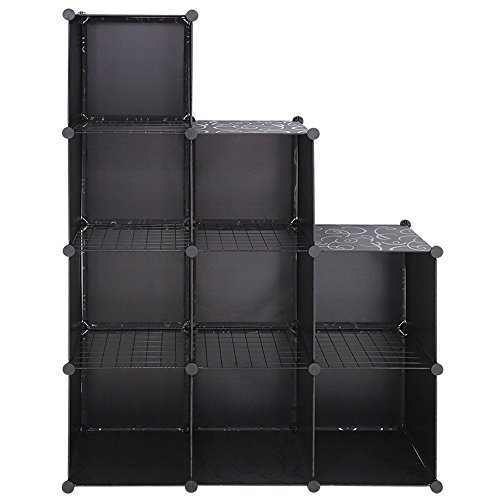 UNICOO - Multi Use DIY Plastic 9 Cube Organizer, Toy Organizer, Bookcase, Storage Cabinet, with Wire Holding Panels (Black)