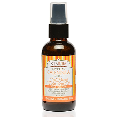 Shea Terra Organics Egyptian Calendula Cold Pressed Extra Virgin Oil | Vitamin C Serum, Dry Skin Treatment, Baby Oil | Sensitive/Irritated Skin Types - 2 oz