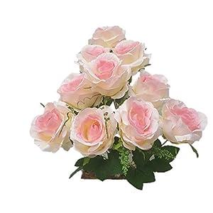 Silk Flower Garden 10 Heads Rose Bouquet 60
