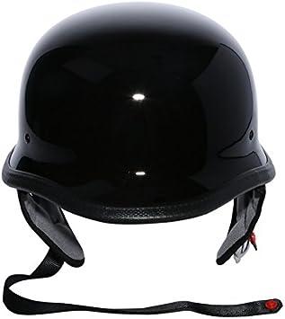 DOT German Motorcycle Gloss Black Half Face Helmet Chopper Cruiser Biker M//L//XL