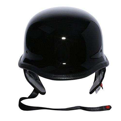 TCMT Dot Adult German Style Gloss Black Half Helmet Motorcycle Chopper Cruiser Biker Helmet L