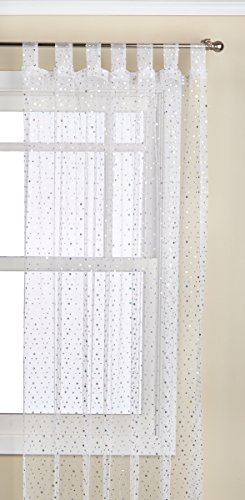 - 1888 Mills Groovy 50-inch-by-84-inch Single Tab-Top Panel Sheer with Sequins, White