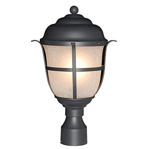 eTopLighting Outdoor Post Light Lantern Frosted Crackle Glass Metal Frame Matte Black Finish Outside Fixture, APL2151 ()
