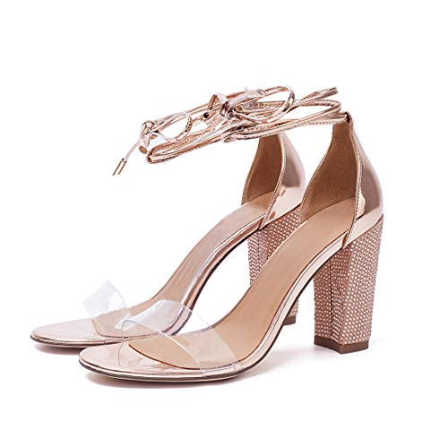 Susanny Womens Heeled Sandals Gladiator High Heels Pumps Strappy Sandal Party Rhinestone Shoes Gold 10 B (M) US