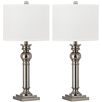 Safavieh Lighting Collection Argos Column Nickel 28.25-inch Table Lamp (Set of 2)