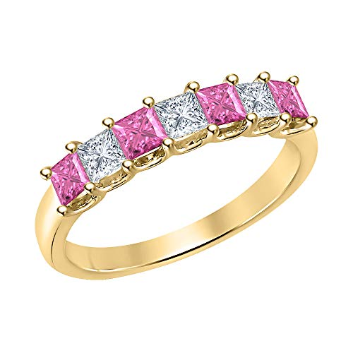 Princess Cut Pink Sapphire & Diamond Half Eternity 14k Yellow Gold .925 Sterling Silver Wedding 7-Stone Band Ring for Women