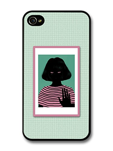 Cool Grunge Girl Illustration in Green and Pink Design case for iPhone 4 4S