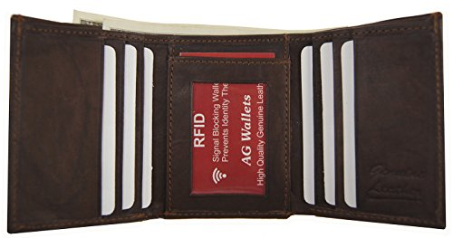 Rfid Proof Men'S Trifold Scan Leather Blocking Brown Wallet Genuine Signal PPU7xaw