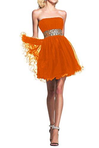 Novia de novia sin tirantes de la Toscana por la noche vestidos de tul vestido corto fiesta De antiguos alumnos de la fiesta de cóctel naranja