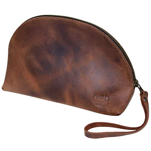 Hide & Drink, Leather Accessory Pouch/Hand Bag/Purse/Phone Holder/Organizer/Wallet, Handmade Includes 101 Year Warranty :: Bourbon Brown