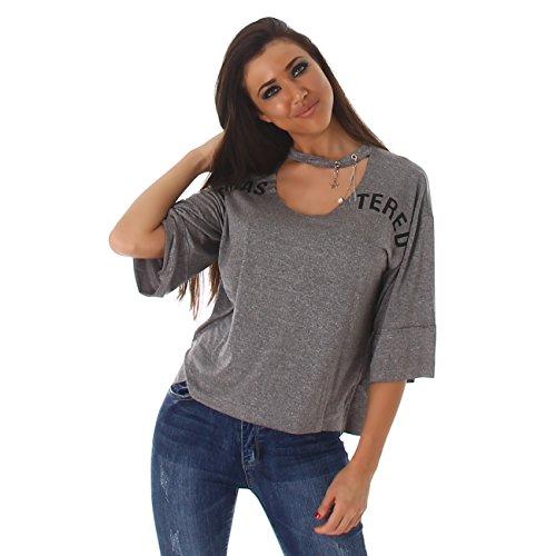 Jela London Damen Langarmshirt mit Riemen Am Ausschnitt I Rundhals-Ausschnitt mit Cut-Out I Weite 3/4 Ärmel Grau