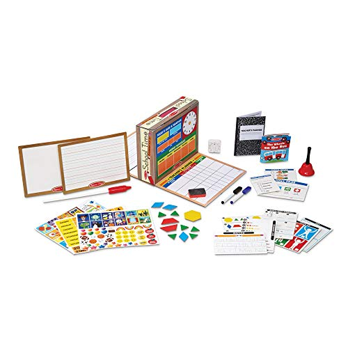 "Melissa & Doug School Time! Classroom Play Set, Role-Play Center, Reusable Double-Sided Boards, Easy Storage Box, 150+ Pieces, 13.5"" H x 10.5"" W x 4"" L from Melissa & Doug"