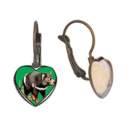 (GiftJewelryShop Bronze Retro Style Tasmanian Devil Photo Heart Dangle Leverback Earrings)