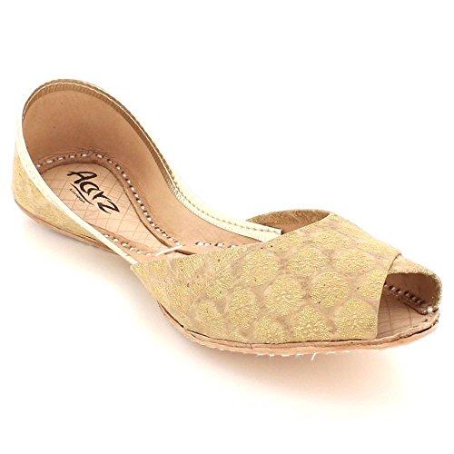 AARZ LONDON Women Ladies Glittery Traditional Ethnic Bridal Handmade Leather Flat Khussa Jutti Mojari Indian Pumps Slip On Shoes Size Gold