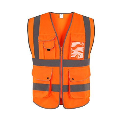 JKSafety 9 Pockets Class 2 High Visibility Zipper Front Safety Vest With Reflective Strips, Meets ANSI/ISEA Standards (Large, -
