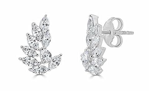 1.50 Cttw Marquise and Pear Shape Diamond (H- I1) Leaf Motif Earrings set in 14k white Gold - I1 Pear Earrings