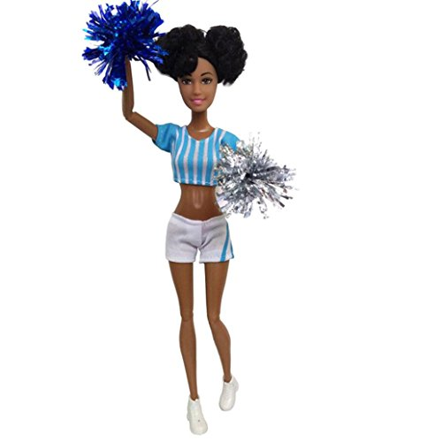 Livoty Baby Movable Joint African Doll Toy Black Doll Best Gift Toy (Sky Blue)