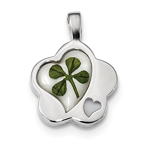 (925 Sterling Silver Plat Plate Real Clover Epoxy Sea Shell Mermaid Nautical Jewelry Flower/heart Pendant Charm Necklace Good Luck Italian Horn Love Fine Jewelry Gifts For Women For Her)
