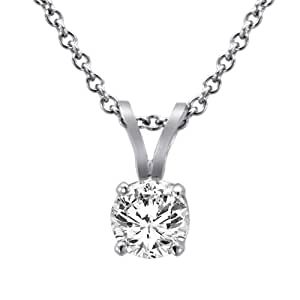 Ryan Jonathan 18K White Gold Round Solitaire Diamond Pendant w/18 Inch Solid Gold Rope Chain (2/5 cttw, F-G, SI1)