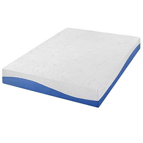 PrimaSleep Wave Gel Infused Memory Foam Mattress, 10'' H, Queen, Blue