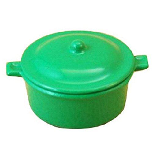 (SODIAL(R) Dollhouse Miniature Kitchen Utensil Cookware Casserole Dish Stew Pan Stockpot 12th Scale, Green)